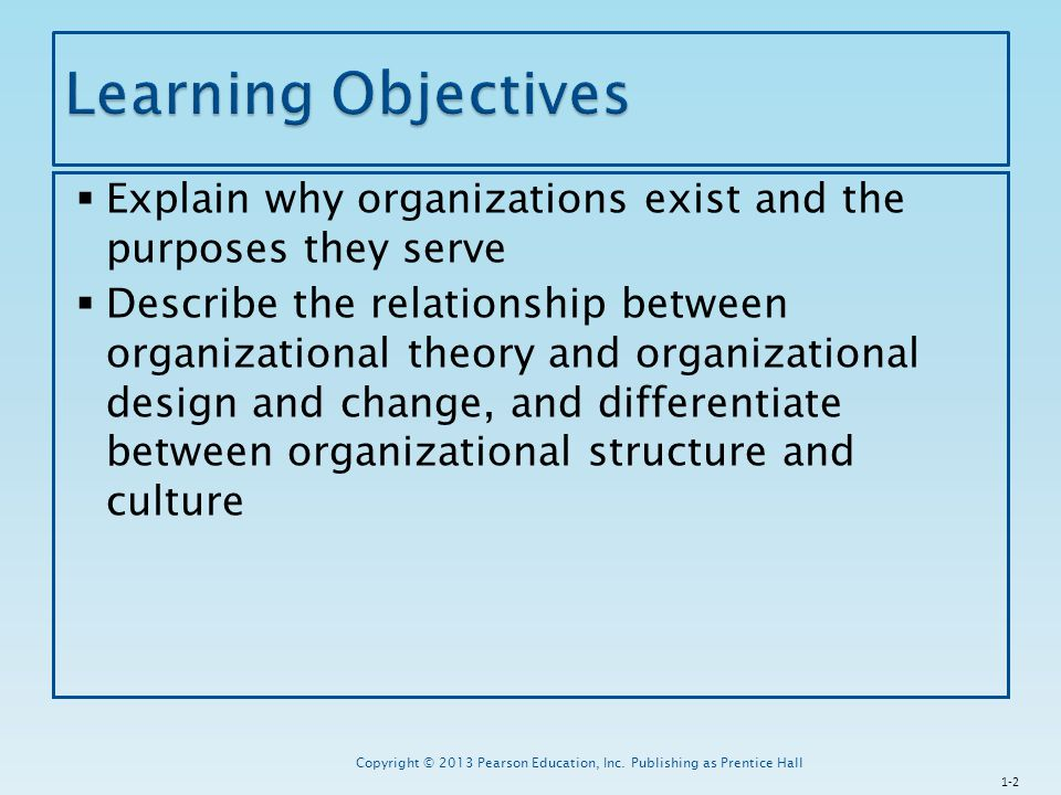 Learning Objectives Explain why organizations exist and the purposes they serve.
