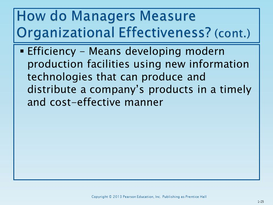 How do Managers Measure Organizational Effectiveness (cont.)