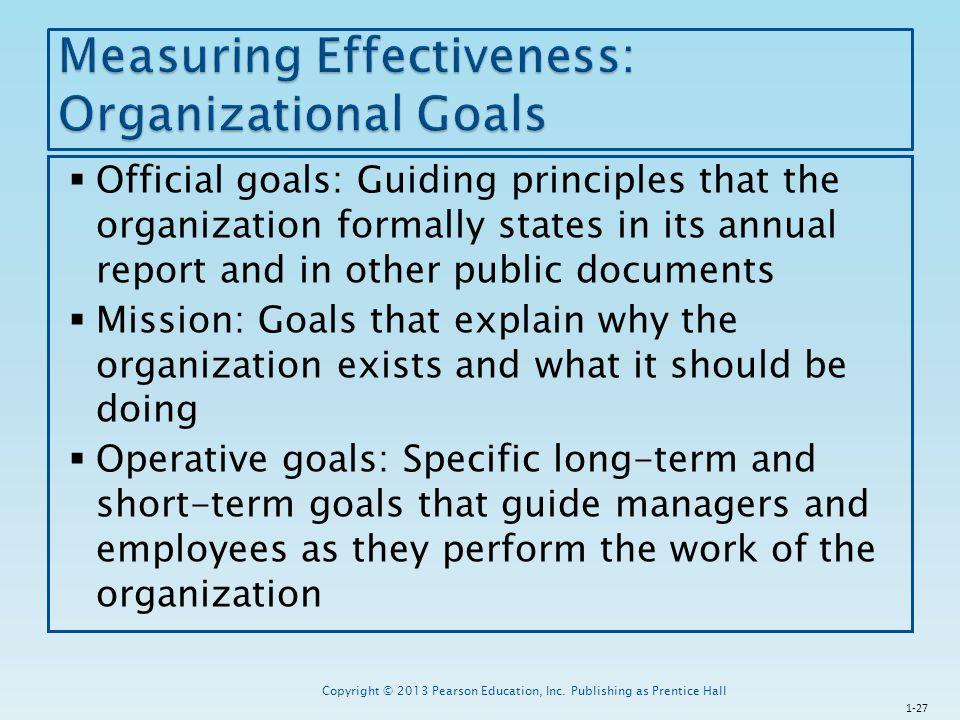 Measuring Effectiveness: Organizational Goals