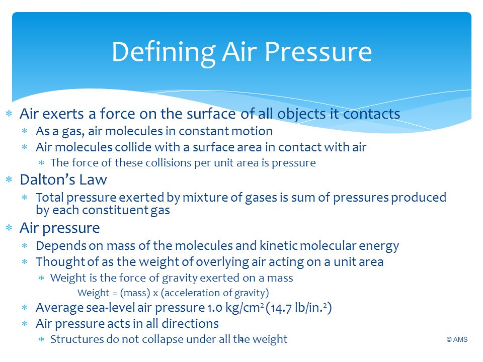 Defining Air Pressure Air exerts a force on the surface of all objects it contacts. As a gas, air molecules in constant motion.