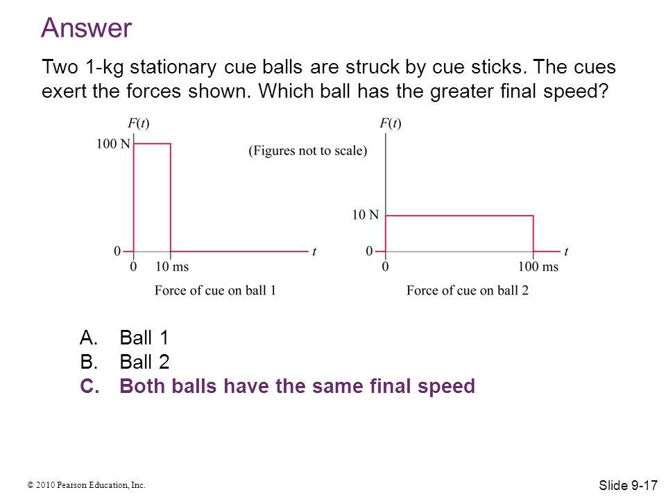 Answer Two 1-kg stationary cue balls are struck by cue sticks. The cues exert the forces shown. Which ball has the greater final speed