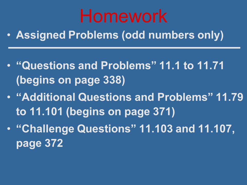 Homework Assigned Problems (odd numbers only)