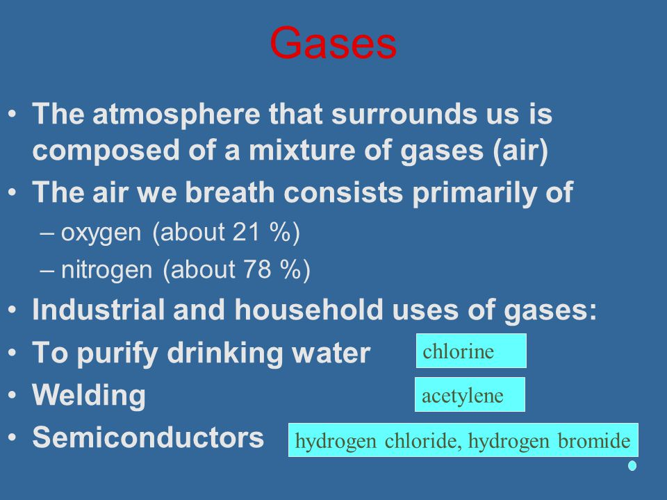 Gases The atmosphere that surrounds us is composed of a mixture of gases (air) The air we breath consists primarily of.