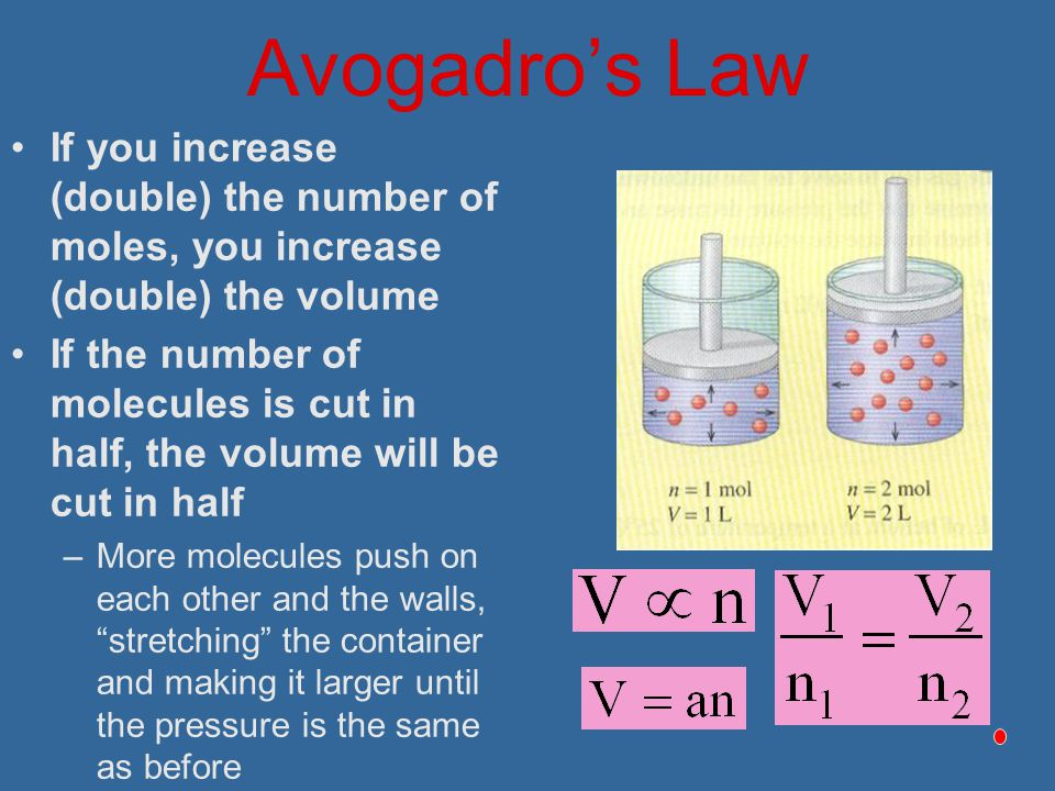 Avogadro's Law If you increase (double) the number of moles, you increase (double) the volume.