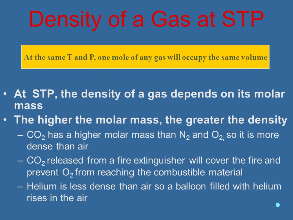 At the same T and P, one mole of any gas will occupy the same volume
