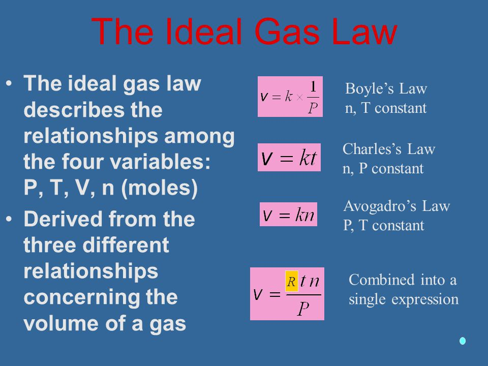 The Ideal Gas Law The ideal gas law describes the relationships among the four variables: P, T, V, n (moles)