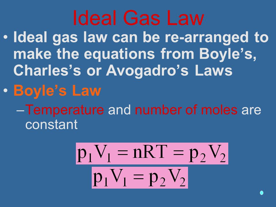 Ideal Gas Law Ideal gas law can be re-arranged to make the equations from Boyle's, Charles's or Avogadro's Laws.