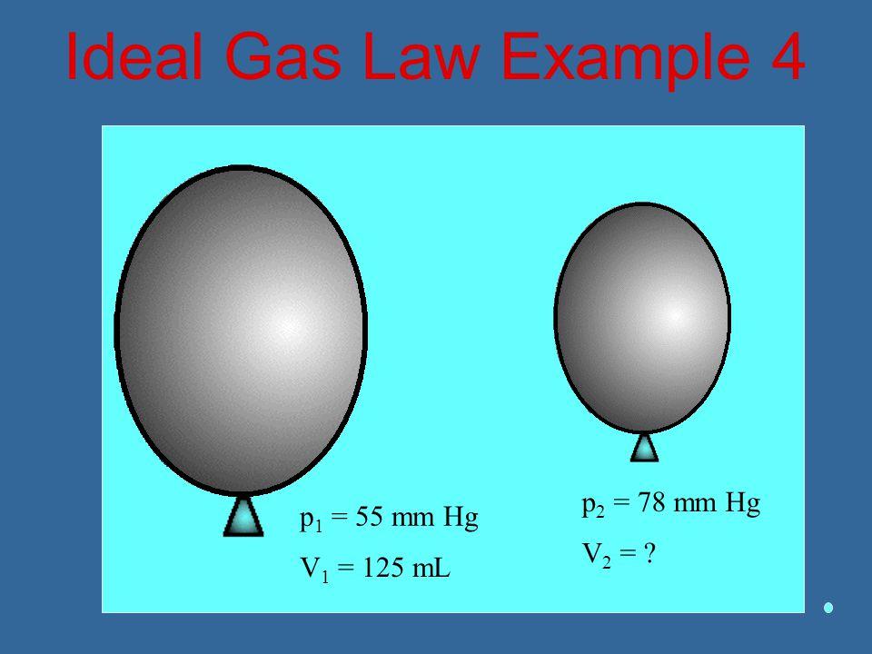 Ideal Gas Law Example 4 p2 = 78 mm Hg V2 = p1 = 55 mm Hg V1 = 125 mL