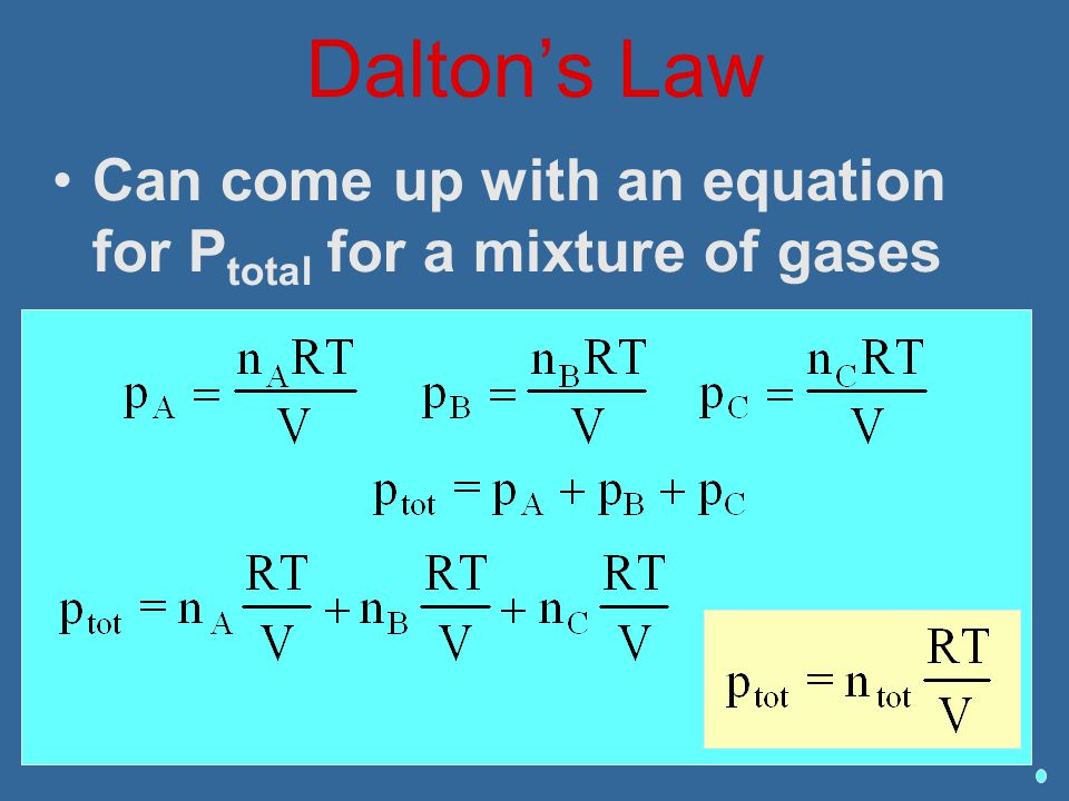 Dalton's Law Can come up with an equation for Ptotal for a mixture of gases
