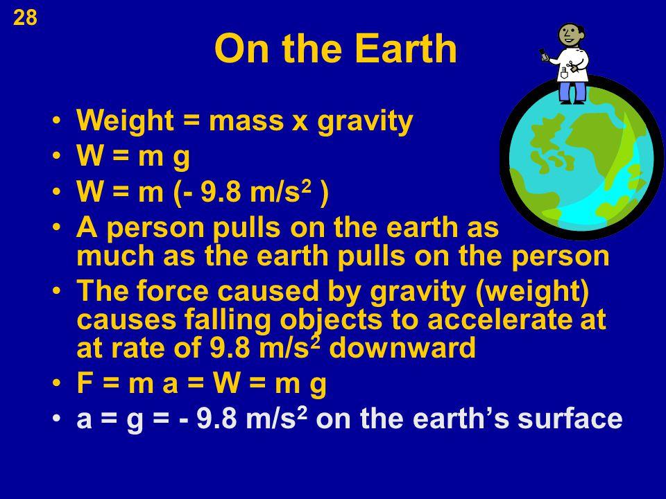 On the Earth Weight = mass x gravity W = m g W = m (- 9.8 m/s2 )