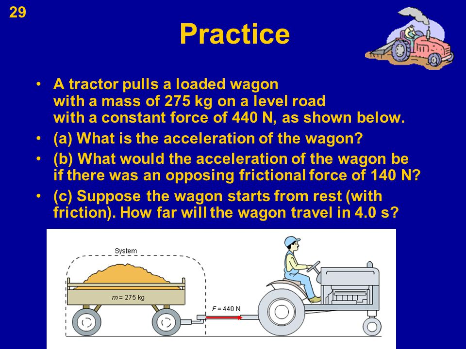Practice A tractor pulls a loaded wagon with a mass of 275 kg on a level road with a constant force of 440 N, as shown below.