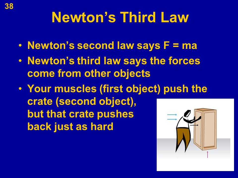 Newton's Third Law Newton's second law says F = ma