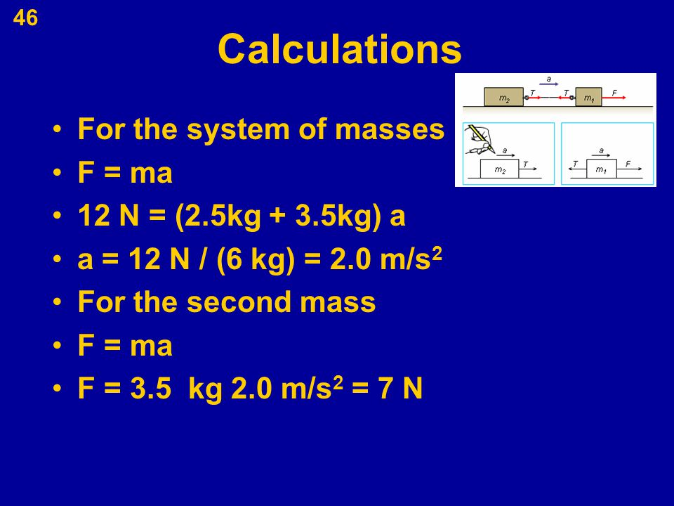 Calculations For the system of masses F = ma 12 N = (2.5kg + 3.5kg) a