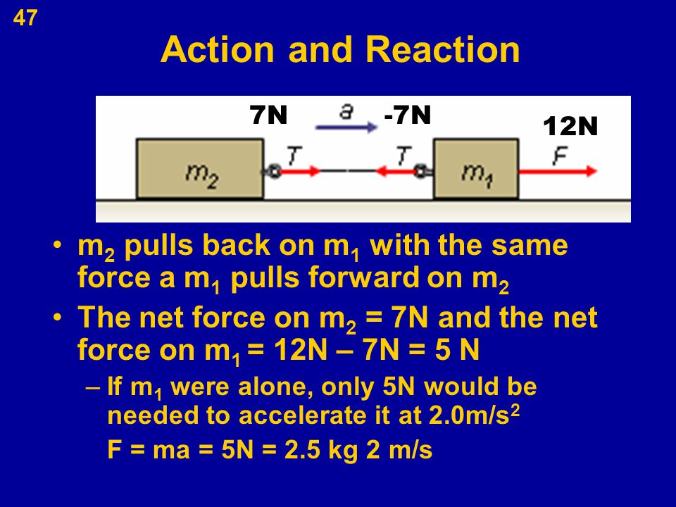 Action and Reaction 7N. -7N. m2 pulls back on m1 with the same force a m1 pulls forward on m2.