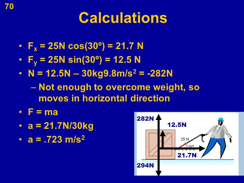 Calculations Fx = 25N cos(30º) = 21.7 N Fy = 25N sin(30º) = 12.5 N