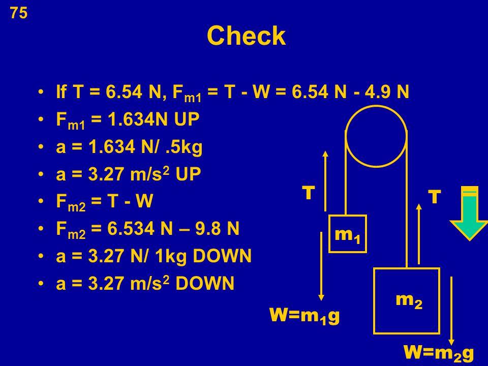 Check If T = 6.54 N, Fm1 = T - W = 6.54 N - 4.9 N Fm1 = 1.634N UP