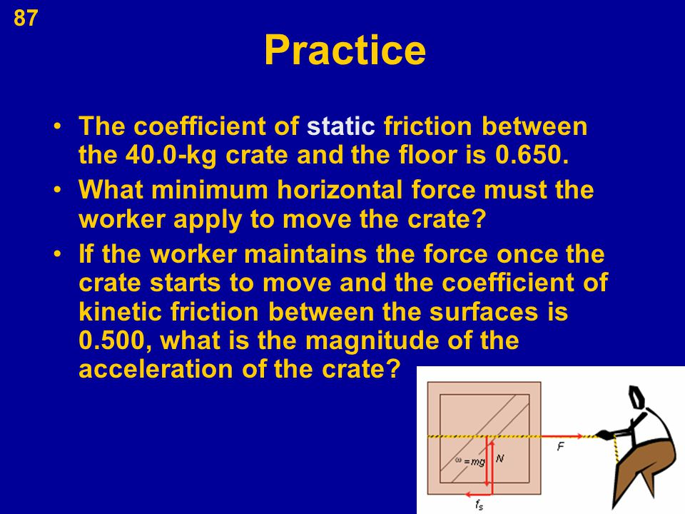 Practice The coefficient of static friction between the 40.0-kg crate and the floor is 0.650.
