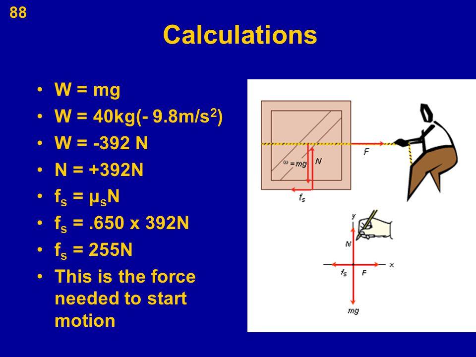 Calculations W = mg W = 40kg(- 9.8m/s2) W = -392 N N = +392N fs = μsN