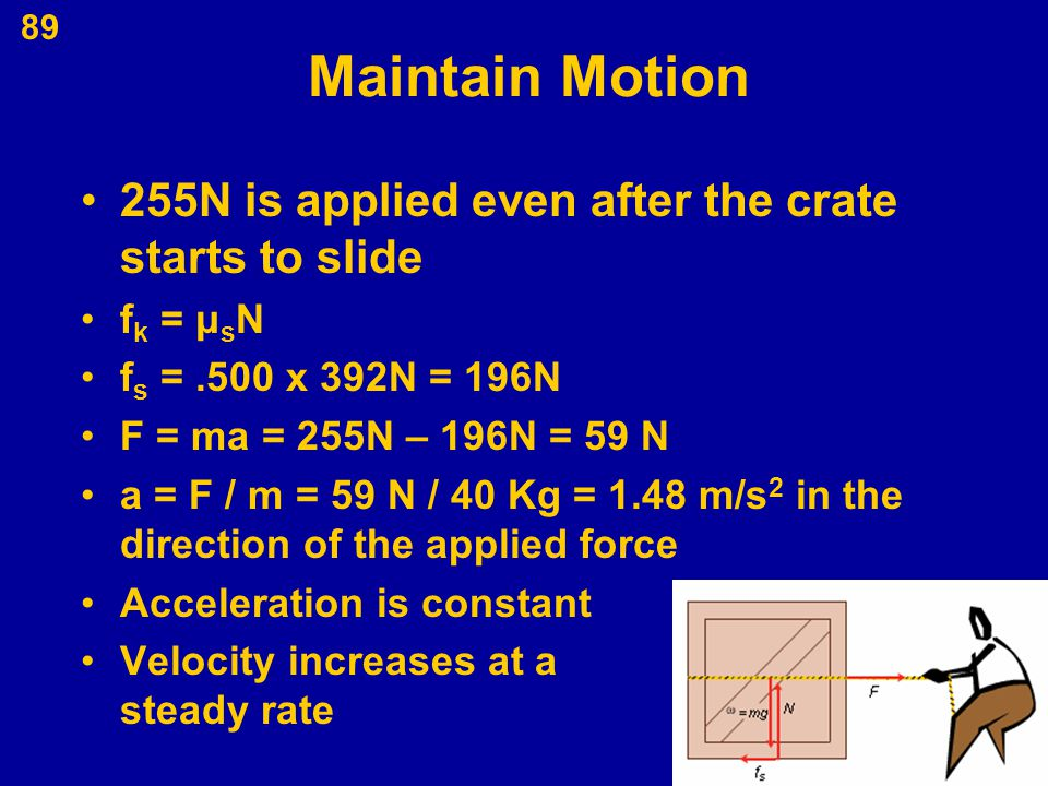 Maintain Motion 255N is applied even after the crate starts to slide