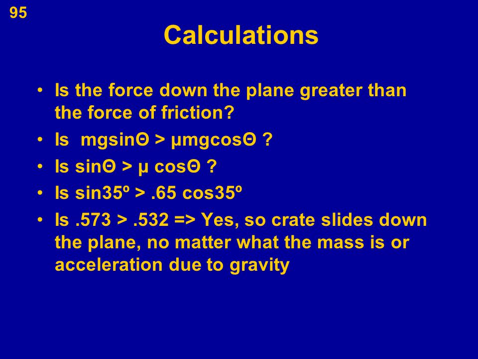 Calculations Is the force down the plane greater than the force of friction Is mgsinΘ > μmgcosΘ