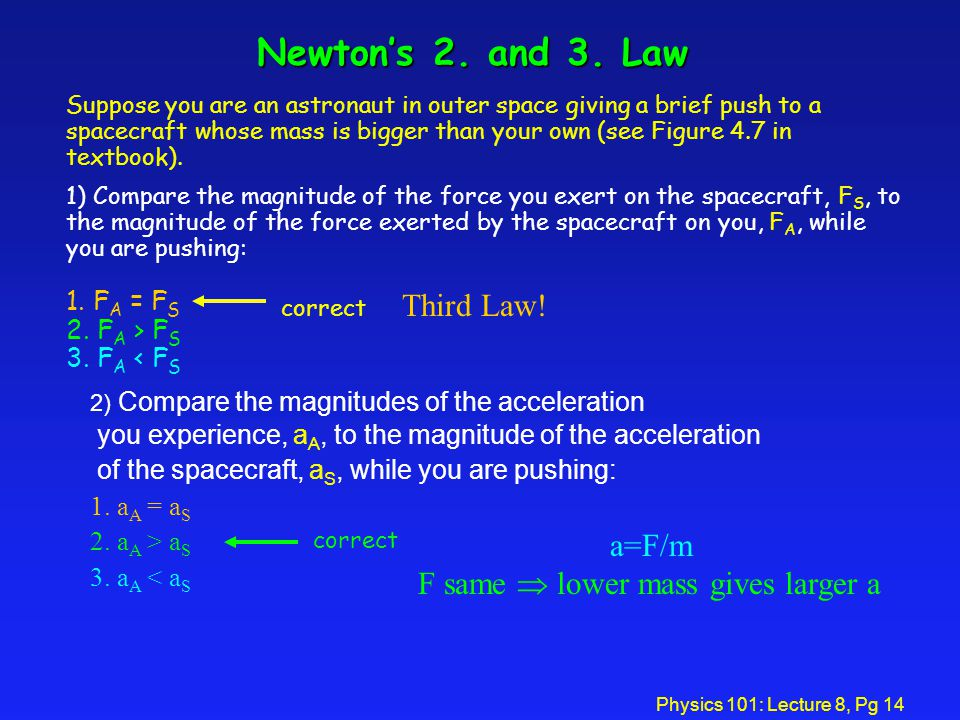 Newton's 2. and 3. Law Third Law! a=F/m