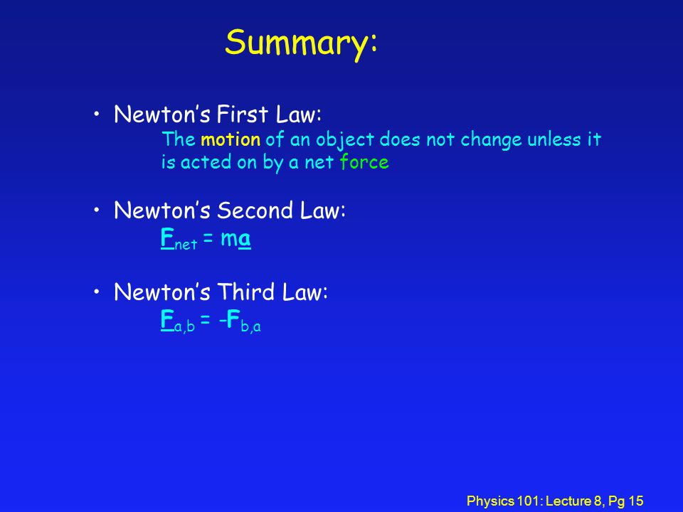 Summary: Newton's First Law: Newton's Second Law: Fnet = ma
