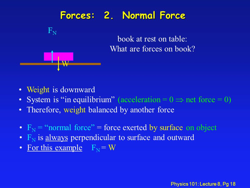 Forces: 2. Normal Force FN book at rest on table: