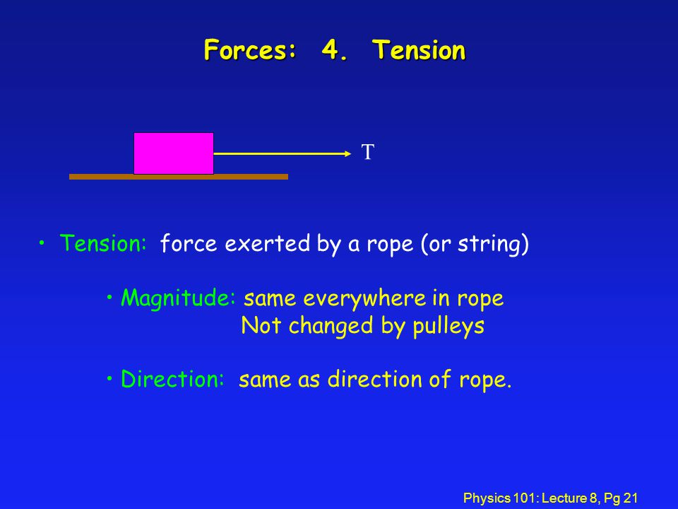 Forces: 4. Tension T Tension: force exerted by a rope (or string)