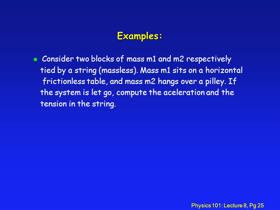 Examples: Consider two blocks of mass m1 and m2 respectively
