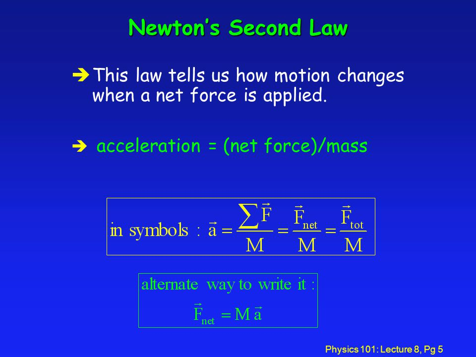Newton's Second Law This law tells us how motion changes when a net force is applied. acceleration = (net force)/mass.