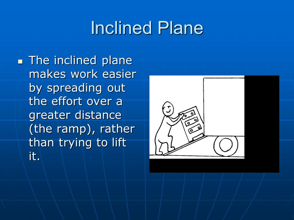 Inclined Plane The inclined plane makes work easier by spreading out the effort over a greater distance (the ramp), rather than trying to lift it.