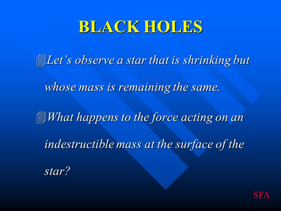 BLACK HOLES Let's observe a star that is shrinking but whose mass is remaining the same.