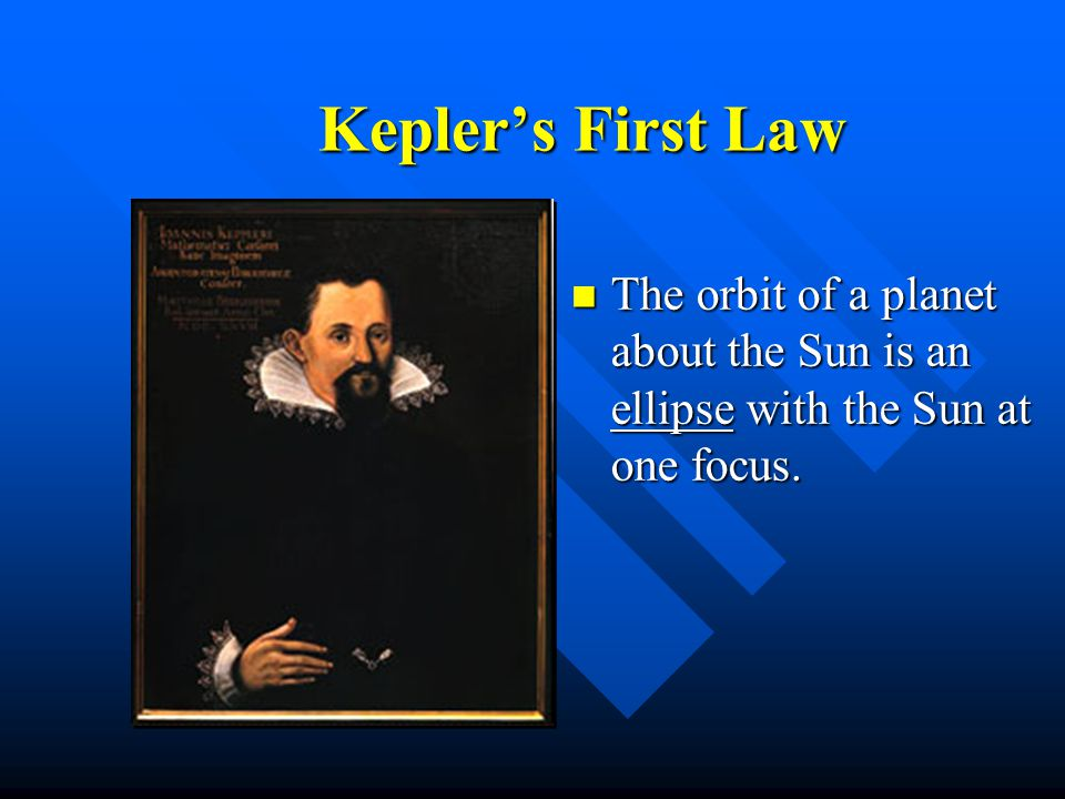 Kepler's First Law The orbit of a planet about the Sun is an ellipse with the Sun at one focus.