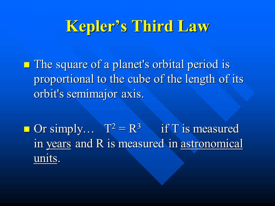 Kepler's Third Law The square of a planet s orbital period is proportional to the cube of the length of its orbit s semimajor axis.