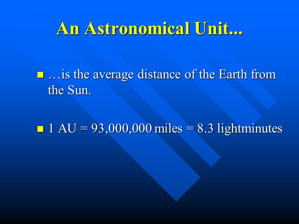 An Astronomical Unit... …is the average distance of the Earth from the Sun.