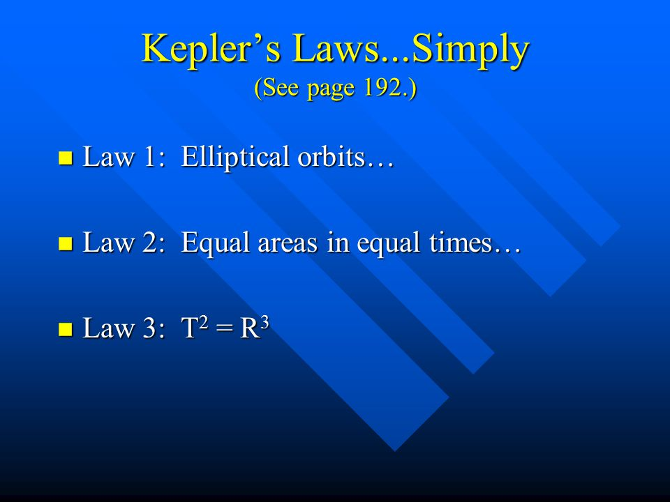Kepler's Laws...Simply (See page 192.)