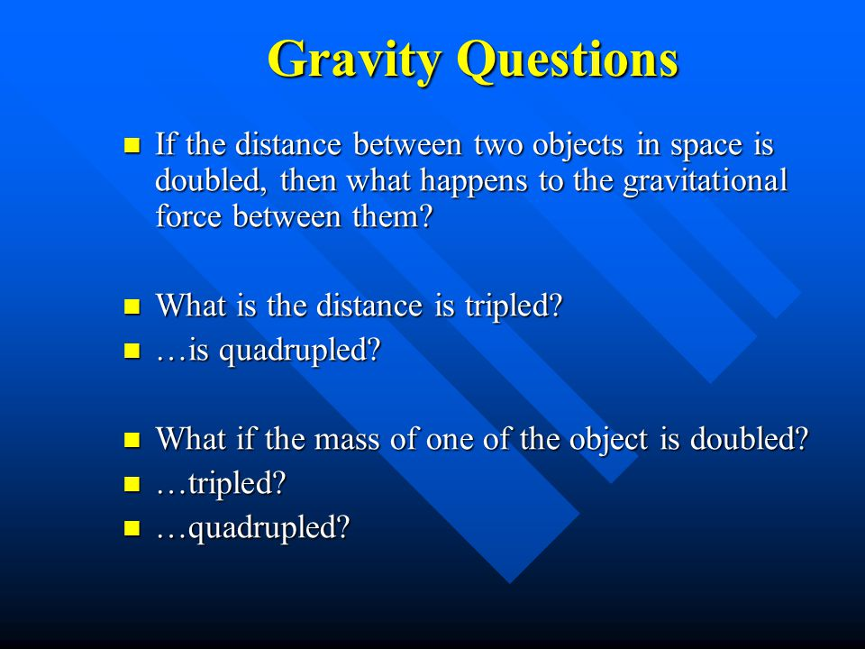 Gravity Questions If the distance between two objects in space is doubled, then what happens to the gravitational force between them