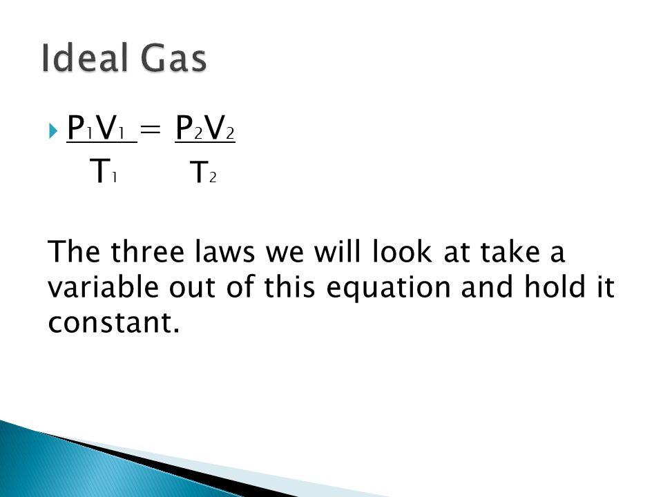 Ideal Gas P1V1 = P2V2. T1 T2.