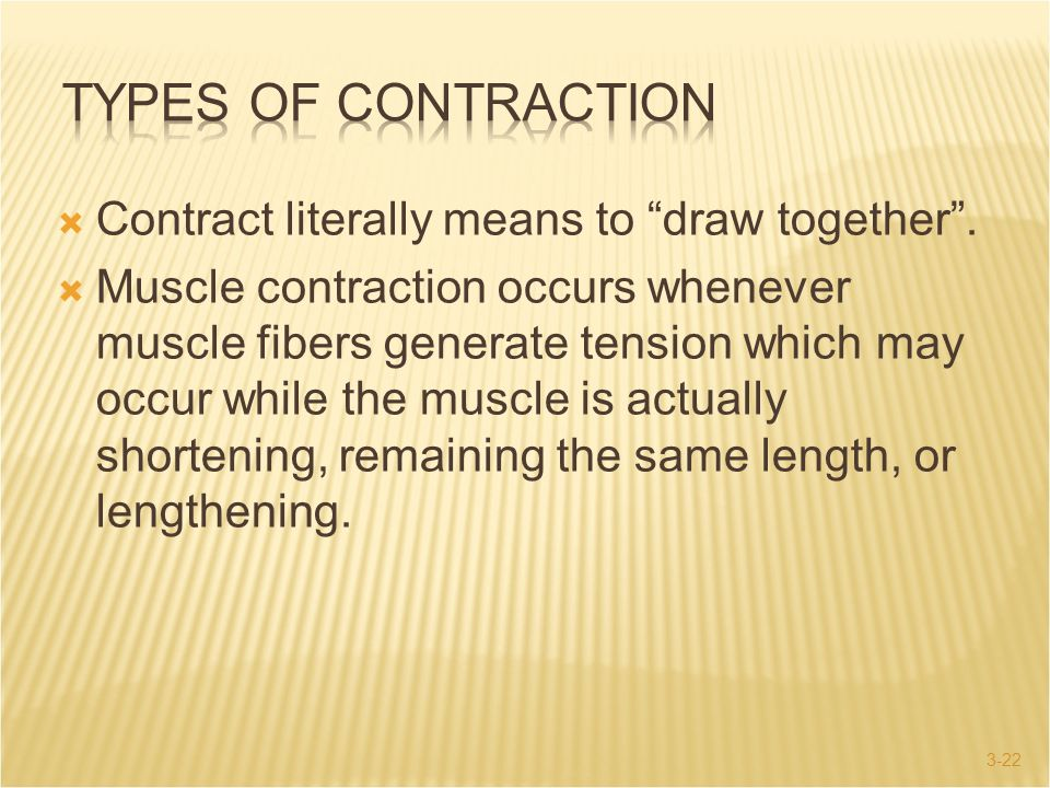 Types of Contraction Contract literally means to draw together .