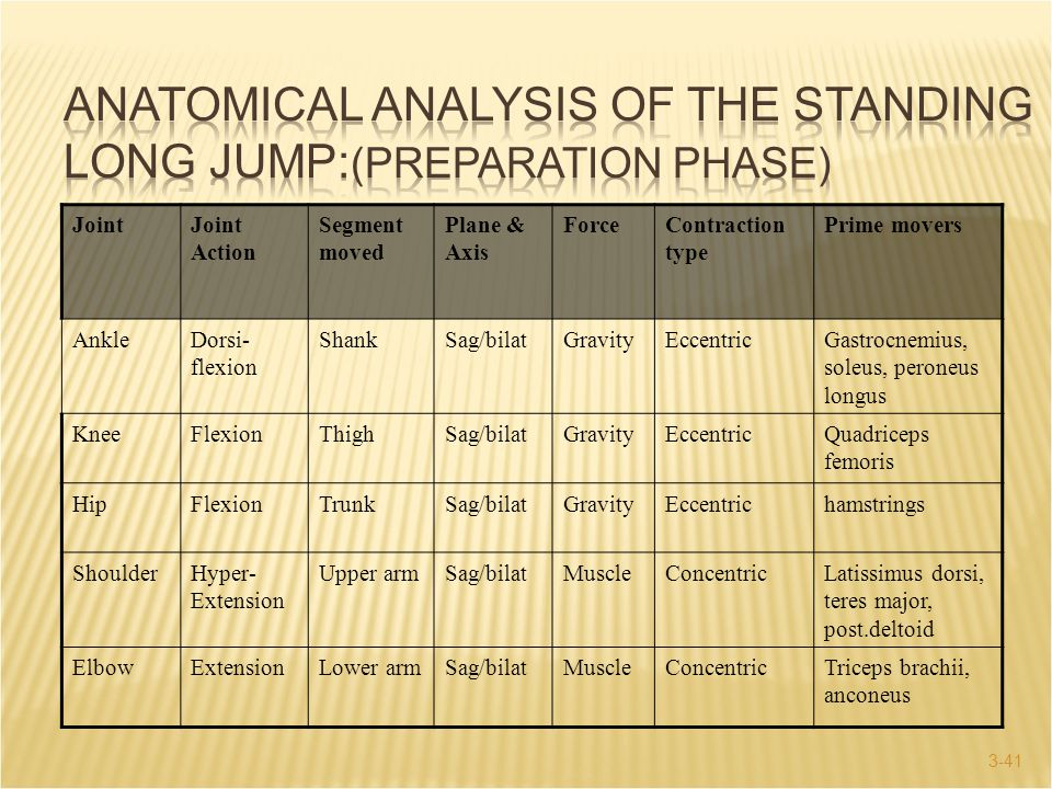 Anatomical Analysis of the Standing Long Jump:(Preparation Phase)