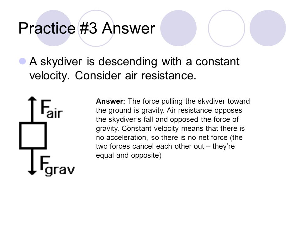 Practice #3 Answer A skydiver is descending with a constant velocity. Consider air resistance.