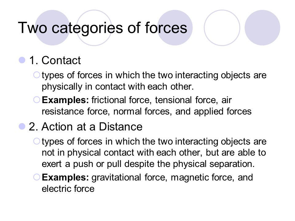 Two categories of forces