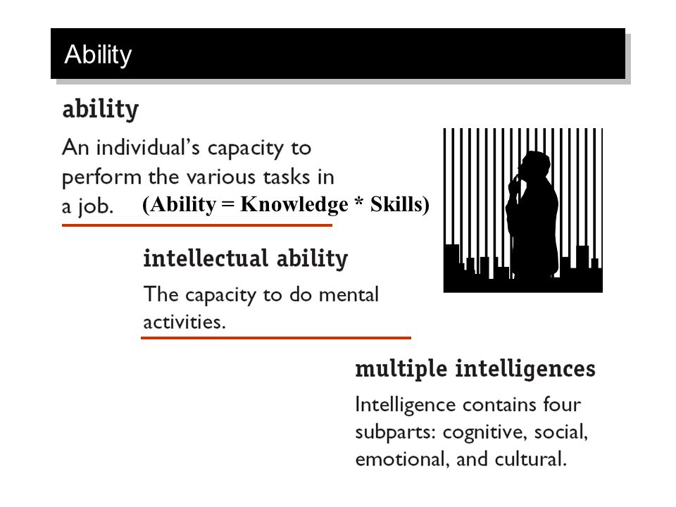Ability (Ability = Knowledge * Skills)