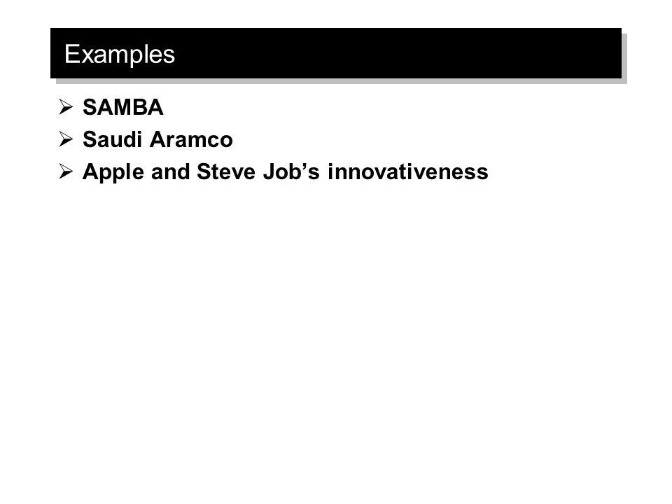Examples SAMBA Saudi Aramco Apple and Steve Job's innovativeness