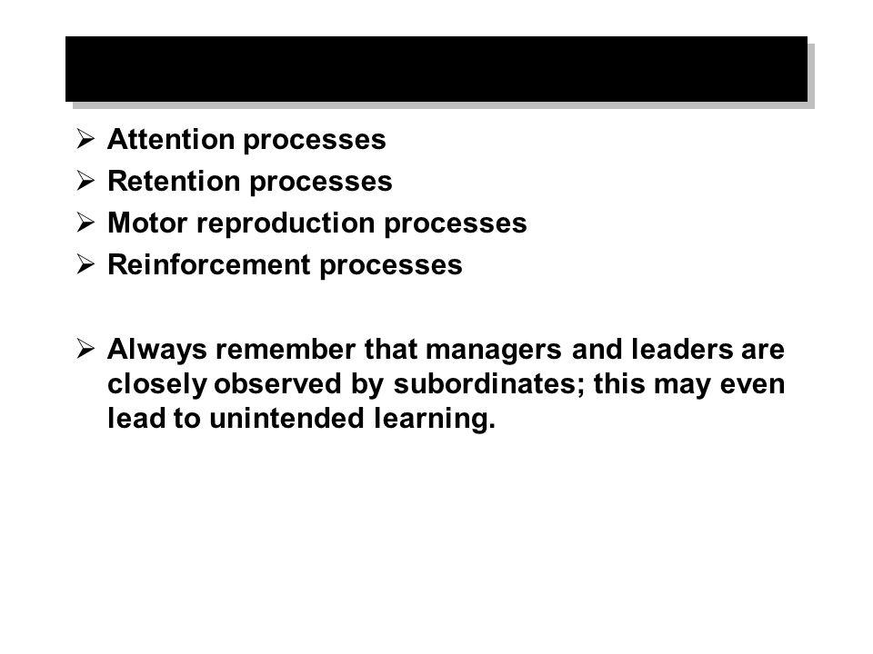 Attention processes Retention processes. Motor reproduction processes. Reinforcement processes.