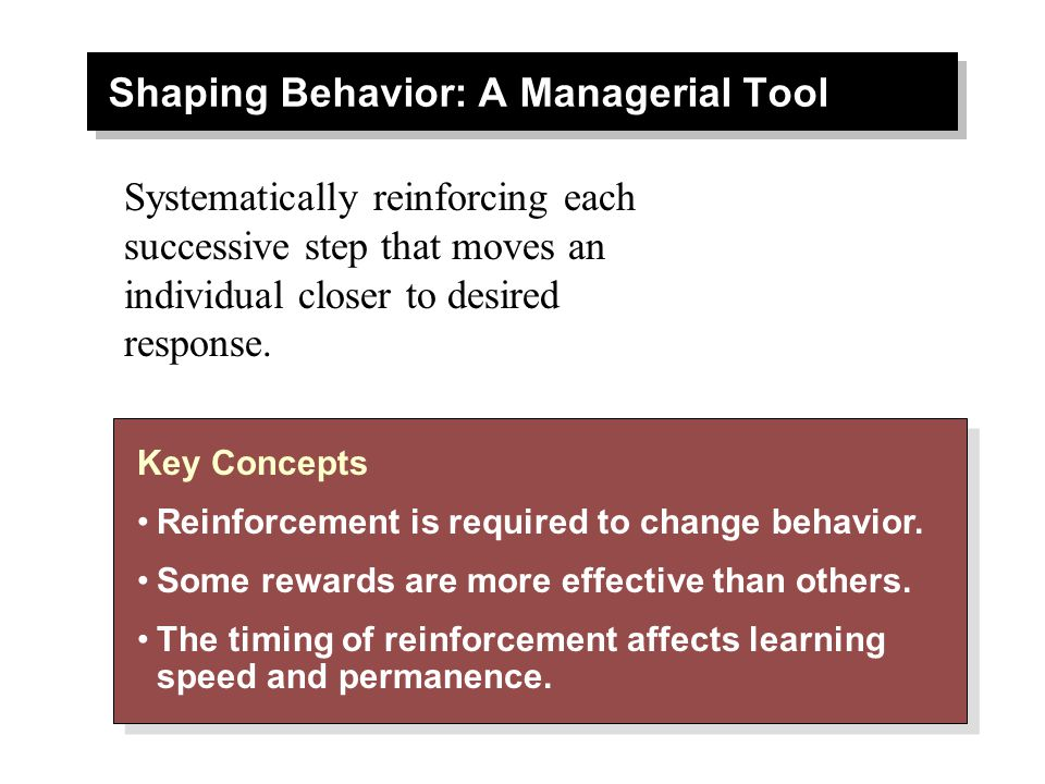 Shaping Behavior: A Managerial Tool