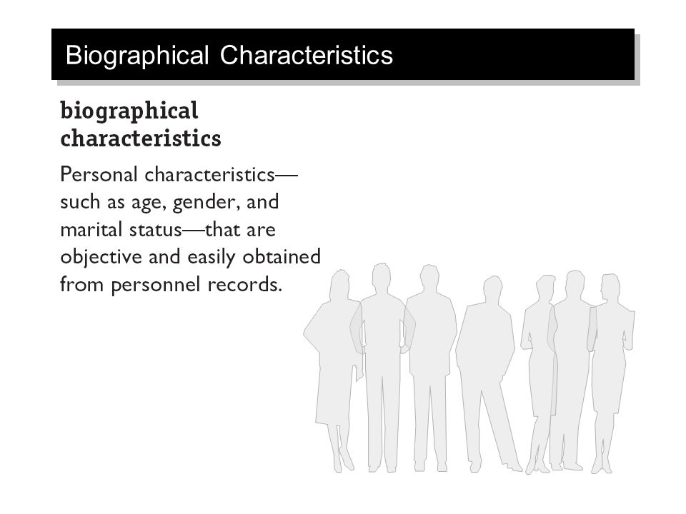 relationship between ability and biographical characteristics i e age tenure gender Answer: d explanation: d) biographical characteristics refer to personal characteristics such as age, gender, race, and length of tenure that are objective and easily obtained from personnel records these characteristics are representative of surface-level diversity.