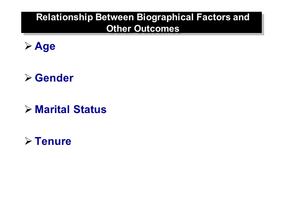 Relationship Between Biographical Factors and Other Outcomes