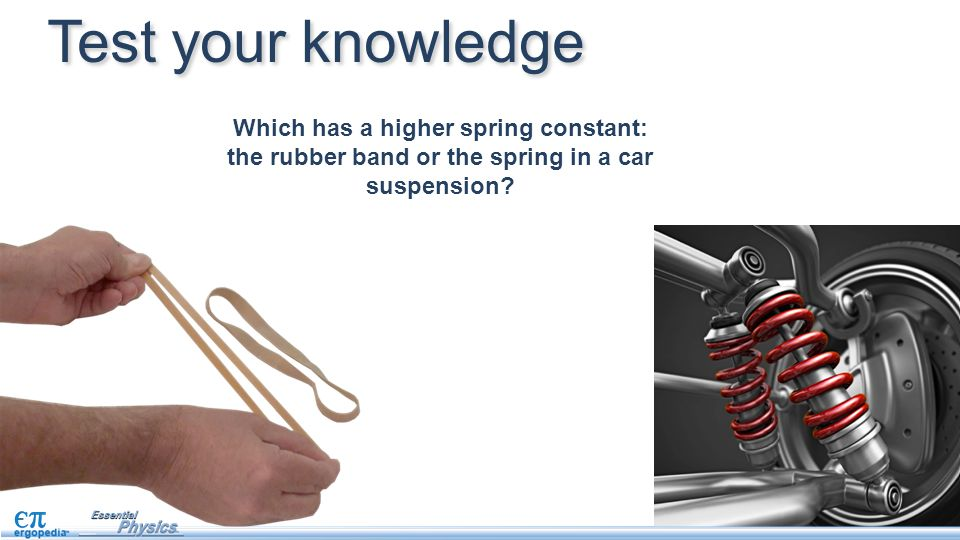 Test your knowledge Which has a higher spring constant: the rubber band or the spring in a car suspension