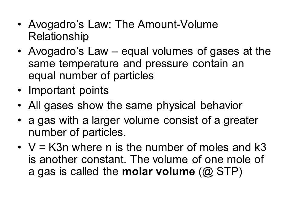Avogadro's Law: The Amount-Volume Relationship